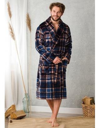 Чоловічий, махровий халат в клітинку KEY