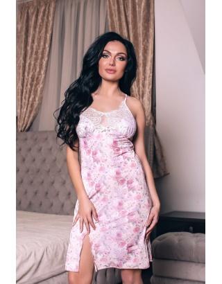 Атласна нічна сорочка, з квітковим принтом Shato