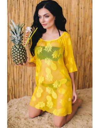 Полупрозрачная туника с ананасами