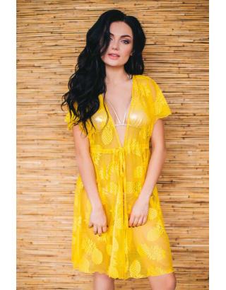 Желтая туника - халат с поясом