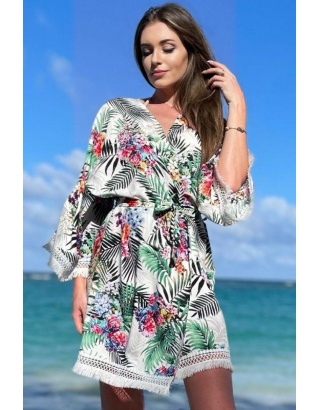 Пляжный халат с цветами